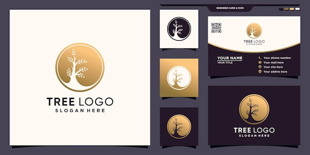 Creative tree circle logo with unique negative space concept and business card design premium vector