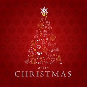 Creative tree decoration merry christmas outline