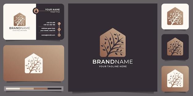 クリエイティブツリーのロゴと名刺のテンプレート
