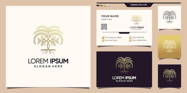Креативный логотип дерева с золотым линейным стилем и дизайном визитной карточки premium векторы