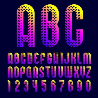 Creative trendy font, modern alphabet in style of pop art.