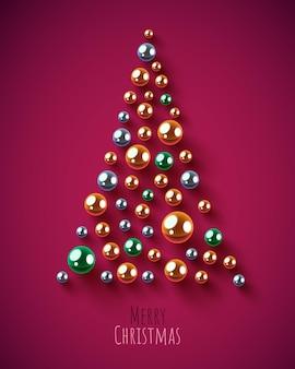 Creative triangle christmas tree made of shiny balls merry christmas and happy new year