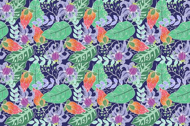 크리 에이 티브 열 대 꽃 패턴