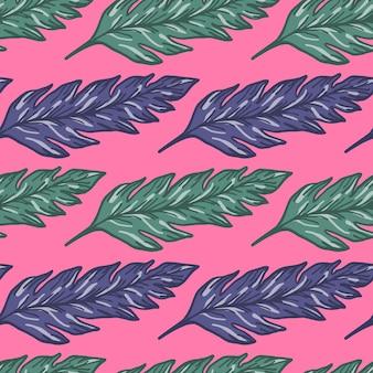 ピンクの背景に創造的な熱帯の葉のシームレスなパターン。抽象的な葉の飾り。葉の背景。