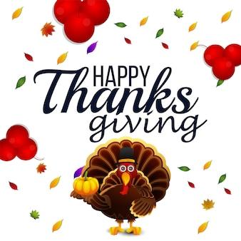 Creative turkey bird for happy thanksgiving day background