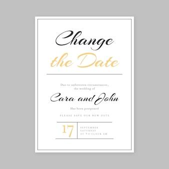Creative typographic postponed wedding card