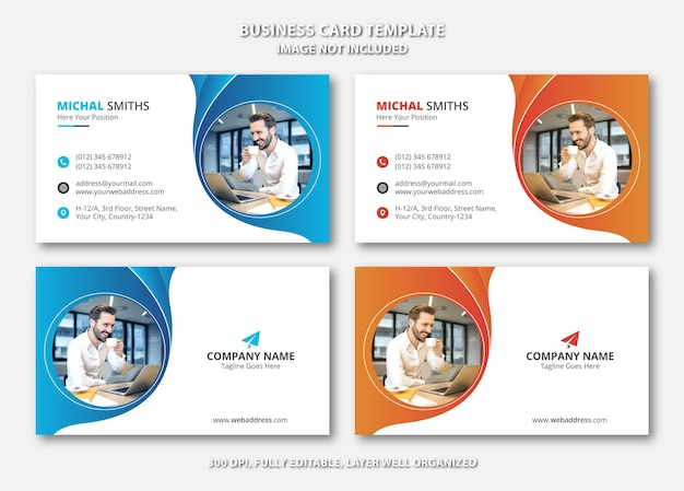 Creative unique business card template with blue and orange gradient