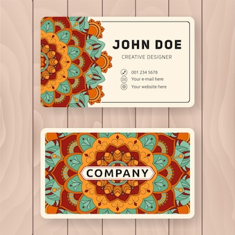Creative useful business name card design. vintage colored mandala design for personal name card, visiting card or tag.