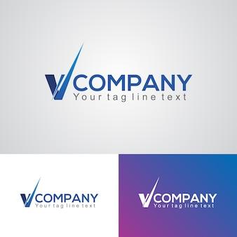 Creative v shape company logo design template