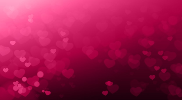Creative valentines day background blurred hearts bokeh beautiful elegant
