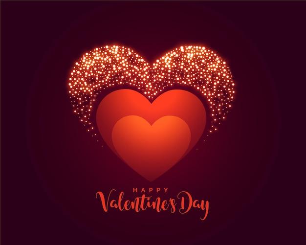 Креативный дизайн баннера сверкающих сердец на день святого валентина