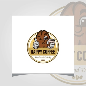 Креативный вектор кофе логотип с кофе в зернах логотип дизайн вдохновения