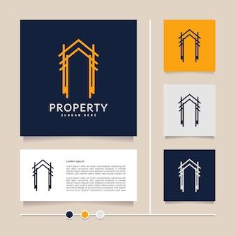 부동산 판매 부동산 중개인 및 주거용 크리 에이 티브 벡터 홈 라인 로고 디자인