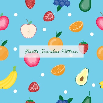 Creative vector illustration fruits seamless background.