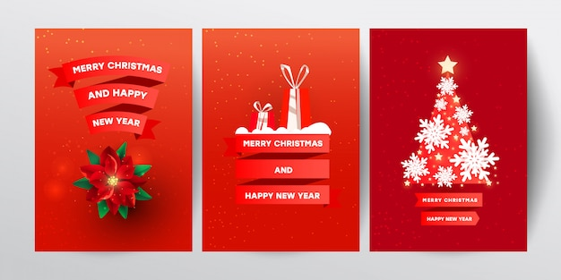 Creative vector illustration set with red christmas decor, snowflakes