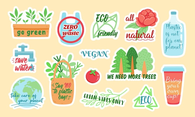 Creative vector stickers with zero waste and eco friendly colorful symbols and stylish inscriptions designed as illustrations for environmental campaign