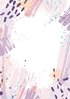 Творческий вертикальный фон украшен розовыми и фиолетовыми следами пастельной краски, пятнами и мазками на белом фоне. ручная роспись рамы или границы. художественная иллюстрация в стиле гранж