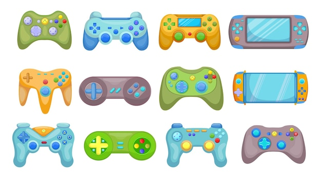 Creative video game controllers flat pictures set