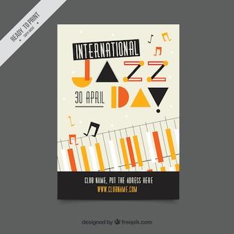 Creative vintage jazz day piano brochure