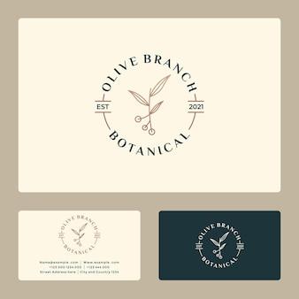 あなたのビジネススパ、ファッション、化粧品、そして健康のための創造的なヴィンテージオリーブの枝のロゴデザイン