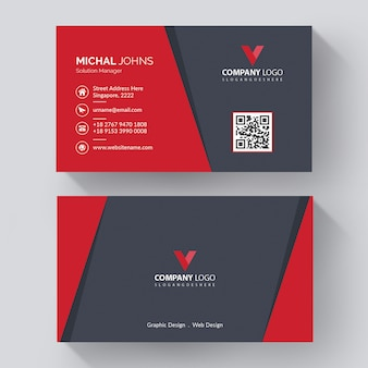 Creative visit card with modern with red details, creative corporate business card template with modern