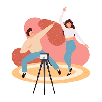 크리 에이 티브 블로그 콘텐츠 일러스트 컨셉, 콘텐츠 비디오를 녹화하는 사람들