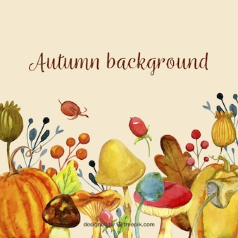 Creative watercolor autumn background with elements