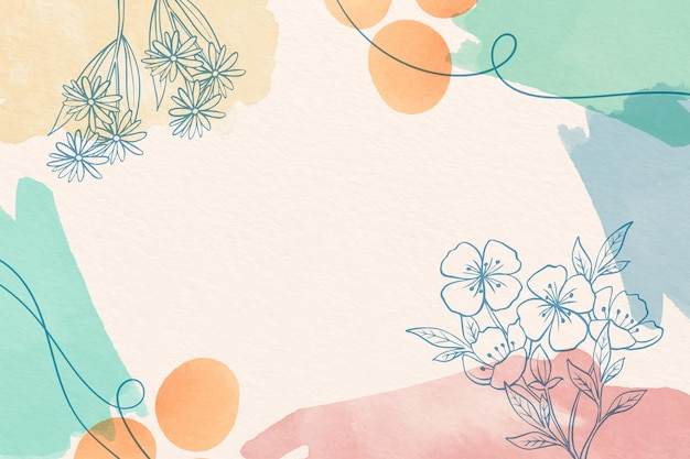 Creative watercolor background with drawn flowers