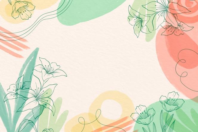 그린 된 꽃과 크리 에이 티브 수채화 배경