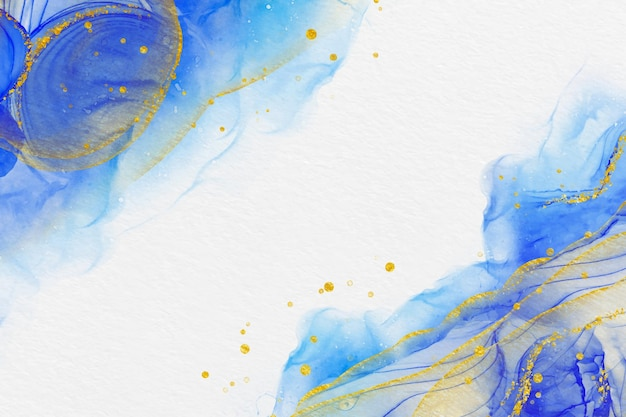 Creative watercolor background with golden lines