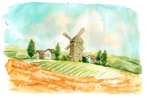 Creative watercolor farm