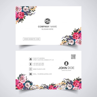 Creative watercolor flower with business card template
