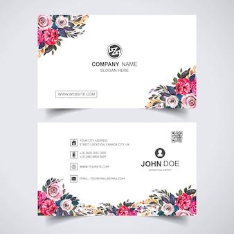 名刺テンプレートと創造的な水彩花