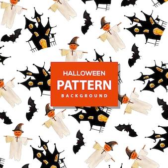 창의 수채화 패턴 할로윈 배경