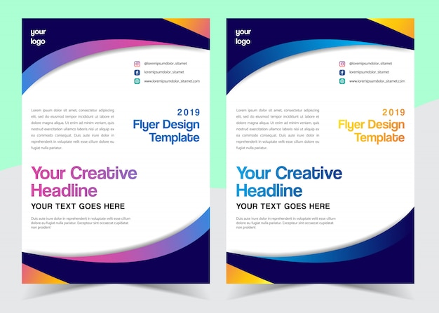 Creative wavy flyer design with different color