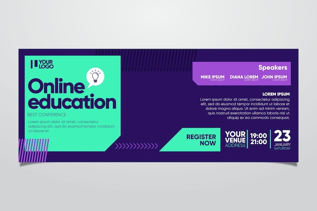 Креативный шаблон баннера вебинара