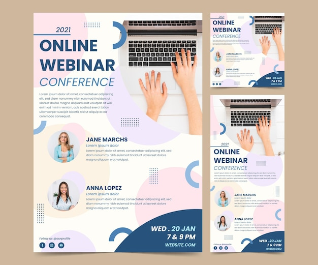 Creative webinar flyer template in different dimensions