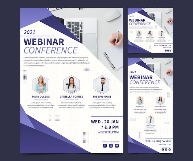 Creative webinar flyers in different dimensions