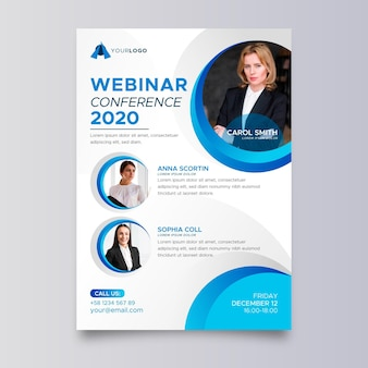 Creative webinar flyers template with photo