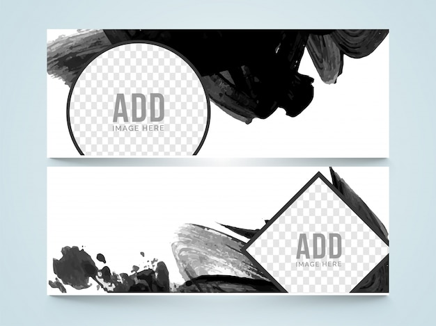 Creative website header or banner with black abstract brush strokes and space to add your images.