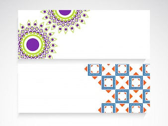 Creative website headers with beautiful floral design and abstract geometric elements.
