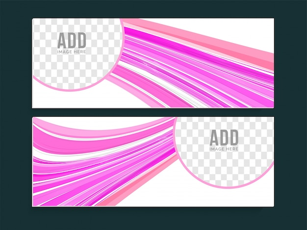 Creative website headers with pink abstract stripes and space to add your images.