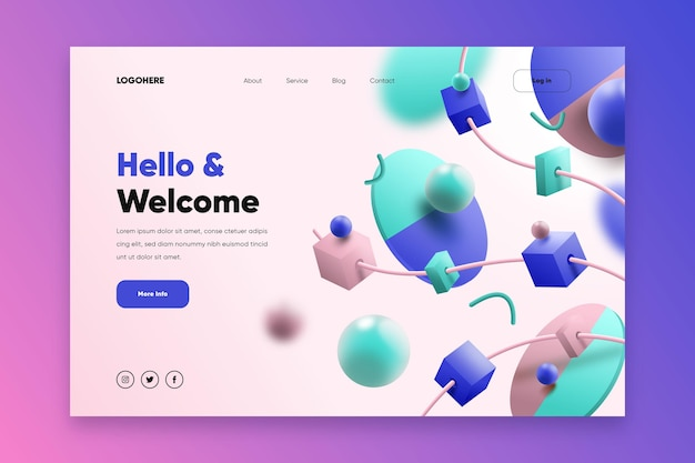 Creative website landing page with illustrated 3d shapes