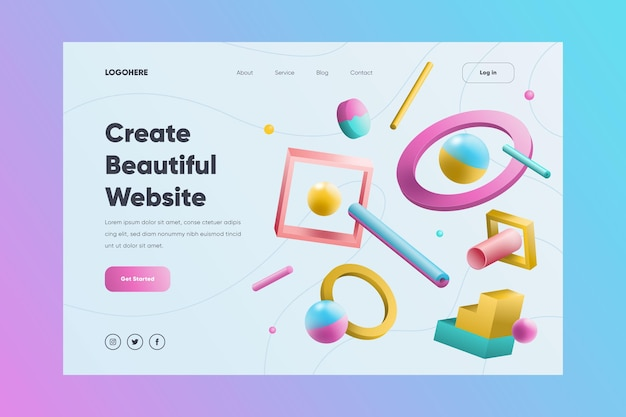 Creative website landing page with illustrated shapes