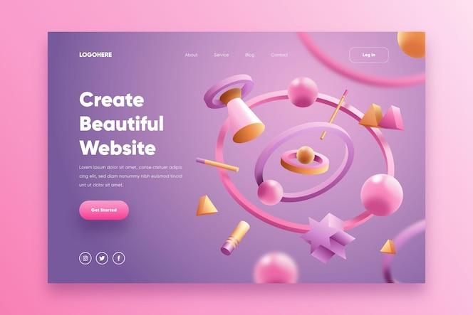 pagina di destinazione del sito web creativo