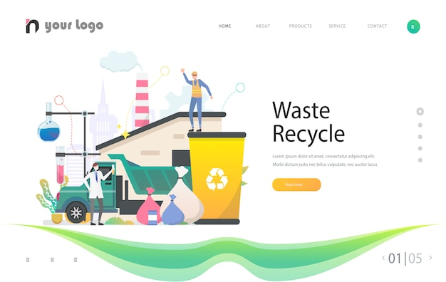 Creative website template designs - waste recycle