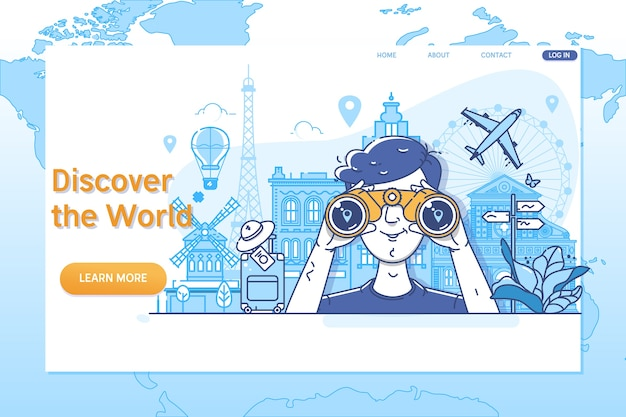 Creative website template of discover the world.