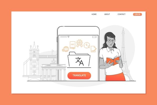 Creative website template of language translator concept