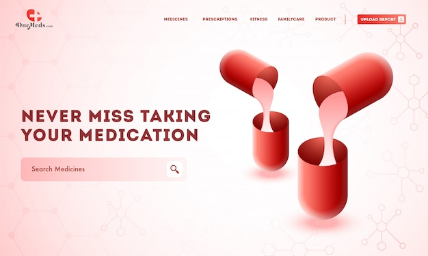 Creative website template layout with medicines