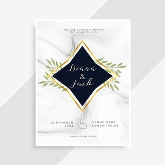 Creative wedding invitation card with marble texture